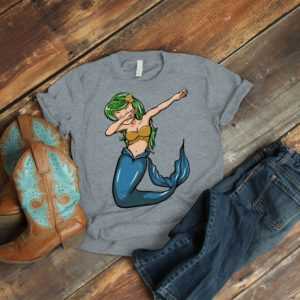 Dabbing Mermaid Shirt Cute Mermaid T-Shirt Mermaid Dancing image 0