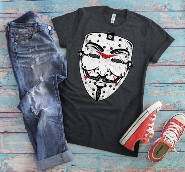 Anonymous Mask Shirt Guy Fawkes T-Shirt Vendetta Gifts image 0