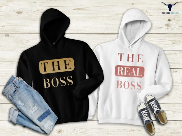 The Boss and The Real Boss Hoodie Funny Couple Hoodie Couple image 0