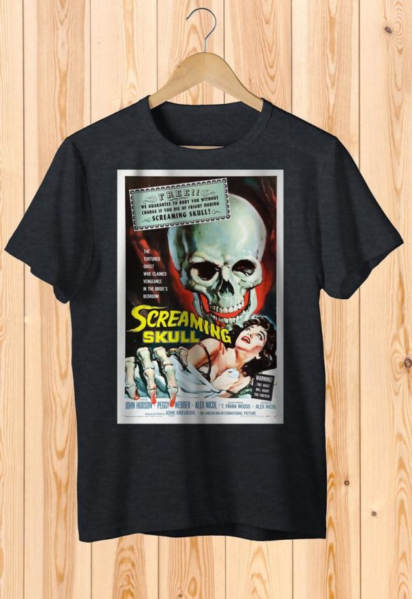 Screaming Scull Retro Ghost Movie Poster Tee Art Shirt image 0
