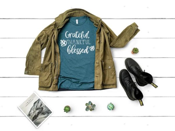 Grateful Thankful Blessed Funny Thanksgiving Shirts Family image 0