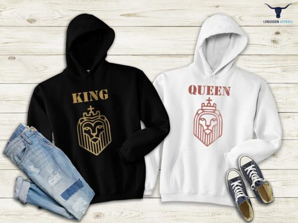 Matching Long Sleeve King and Queen Hoodie Funny Couple image 0