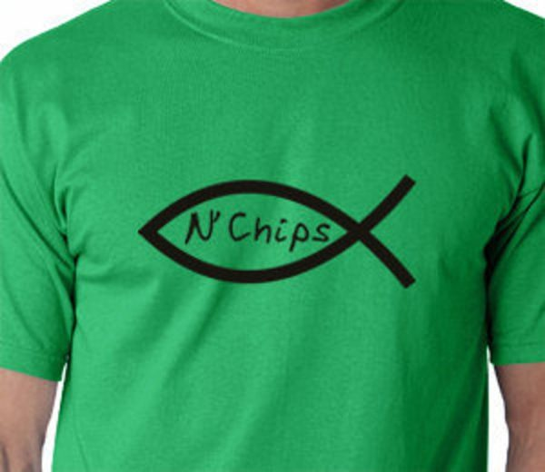 Funny Fish n' Chips funny T shirt Atheist atheism agnostic image 0