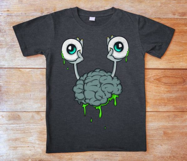 Brain Monster Shirt Retro Vintage Tshirt Creepy Cute Womens image 0