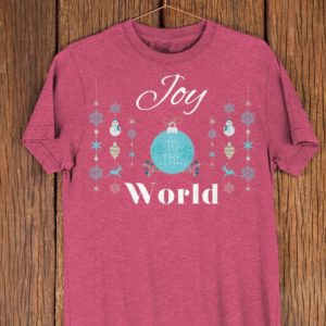 Joy To The World Cute Christmas T Shirt Womens Holiday image 0