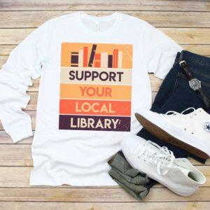 Support Your Local Library Unisex Long Sleeve Tee / Book Worm image 0
