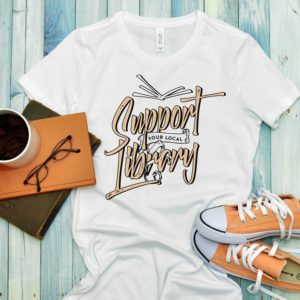 Support Your Local Library Women's Fitted Tee / Book Worm image 0