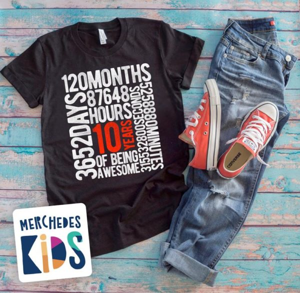 10 Years Of Being Awesome Kids 10th Birthday Bday Tee Shirt / image 0