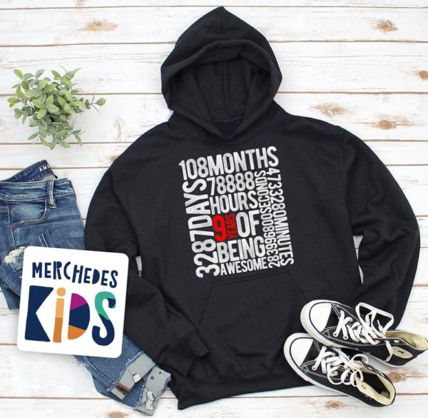 9 Years Of Being Awesome Kids 9th Birthday Bday Youth Hoodie / image 0