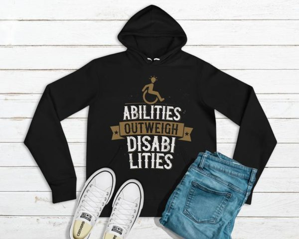 Abilities Outweigh Disabilities Hooded Sweatshirt / Dyslexia image 0