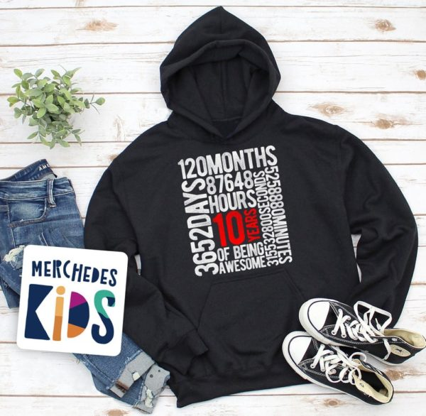 10 Years Of Being Awesome Kids 10th Birthday Bday Youth hoodie image 0