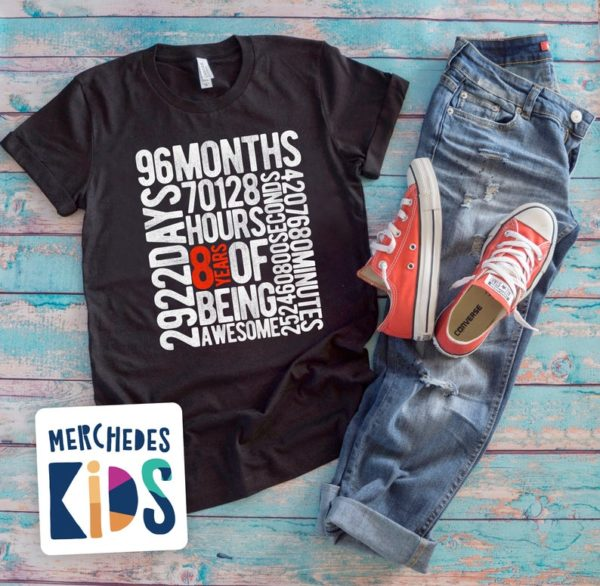 8 Years Of Being Awesome Kids 8th Birthday Bday Tee Shirt / 8 image 0