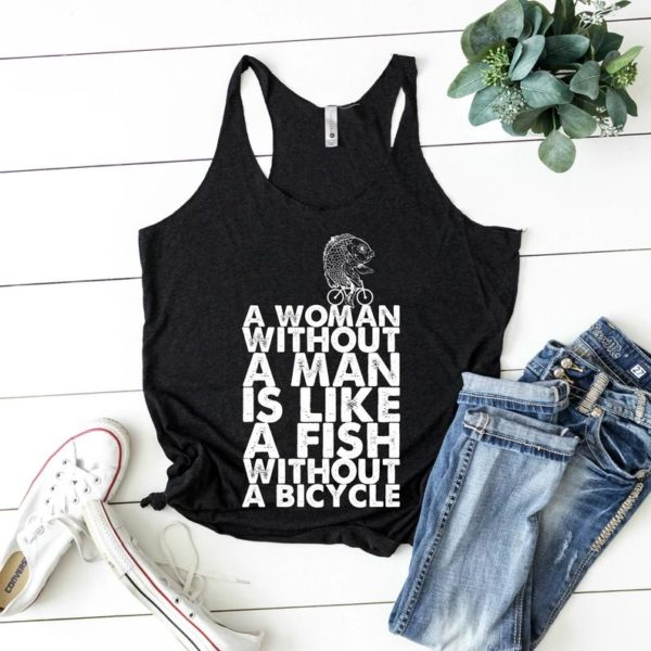 A Woman Without A Man Fish Woman Feminist Tank / Female image 0