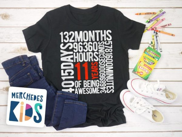 11 Years Of Being Awesome Kids 11th Birthday Bday Tee Shirt / image 0