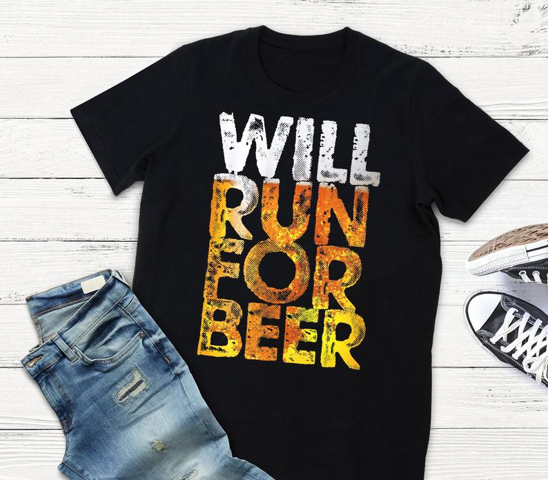 Will Run For Beer Running Shirt / Beers And Brews / Beer Lover image 0