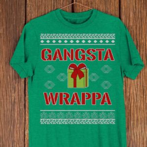 Gangsta Wrappa Shirt Funny Christmas Shopper Tee Holiday image 0