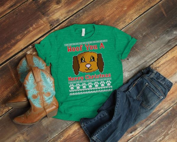 We Woof You A Merry Christmas Shirt Dog Lover Gifts Ugly image 0