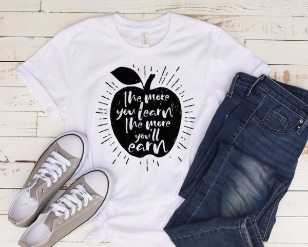 Funny The More You Learn Teachers Inspirational T-Shirt / More image 0