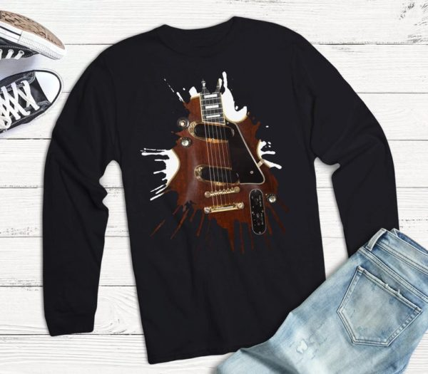 Vintage Les Paul Electric Guitar Player Gift Long Sleeve Shirt image 0