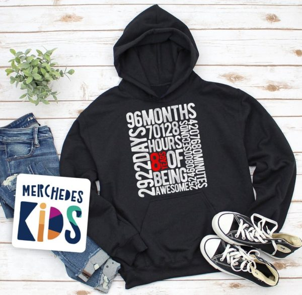 8 Years Of Being Awesome Kids 8th Birthday Bday Youth Hoodie / image 0