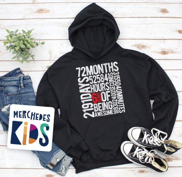 6 Years Of Being Awesome Kids 6th Birthday Bday Youth Hoodie / image 0