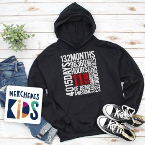 11 Years Of Being Awesome Kids 11th Birthday Bday Youth Hoodie image 0