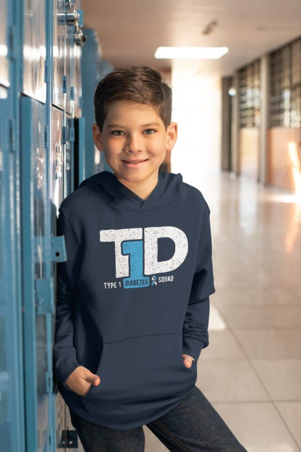 T1D Squad Youth Hoodie / Type 1 Diabetes Awareness / Type One image 0