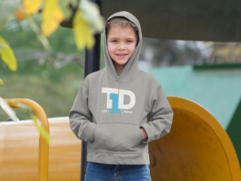 T1D Warrior Youth Hoodie / Type 1 Diabetes Awareness / Type image 0