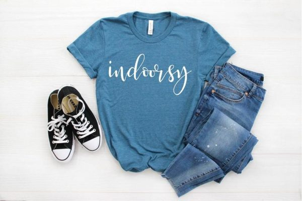 Indoorsy Funny Women's T-Shirt Introverted Shirt  image 0