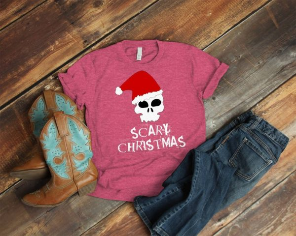 Scary Christmas Shirt Santa Hat Scull Gifts Dark Gothic Tee image 0