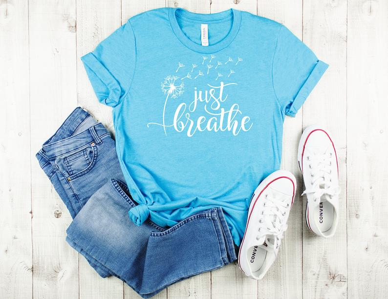 Just Breathe T-Shirt  Blowing Dandelion Tee  Nature Lovers T image 0