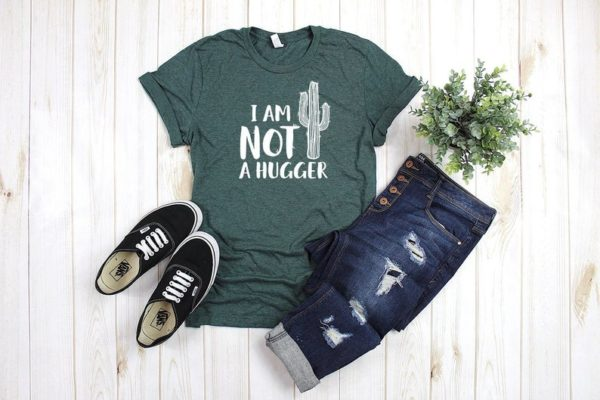 Not a Hugger T-Shirt  Cactus Shirt  Funny Lines  Clever image 0
