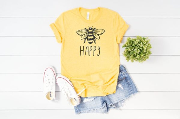 Bee Happy T-Shirt Be Happy Tee Kindness T-Shirts image 0