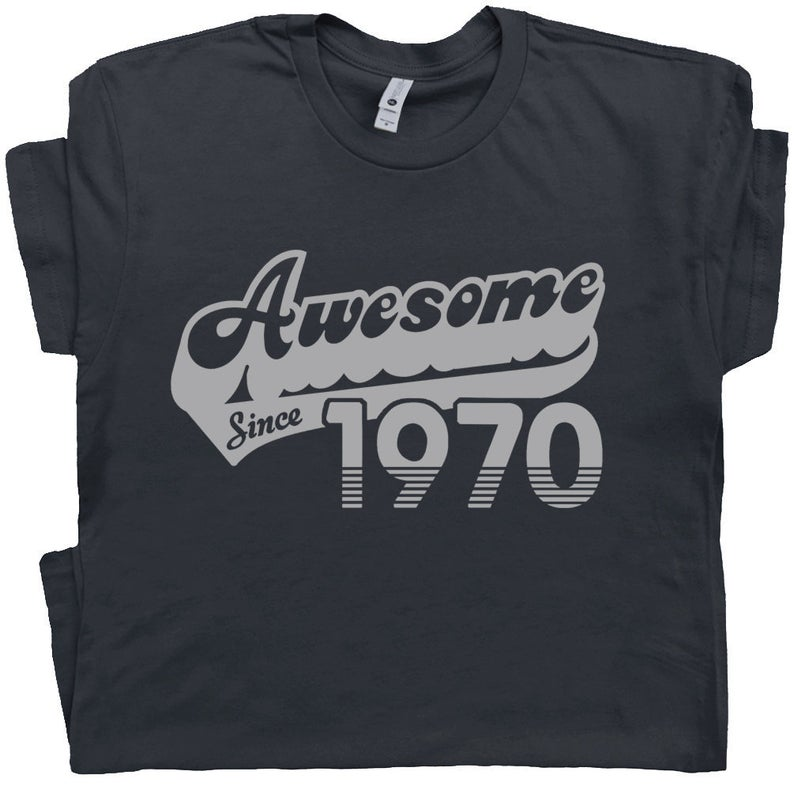 50th Birthday T Shirt Awesome Since 1970 T Shirt Gift For 1970 image 0
