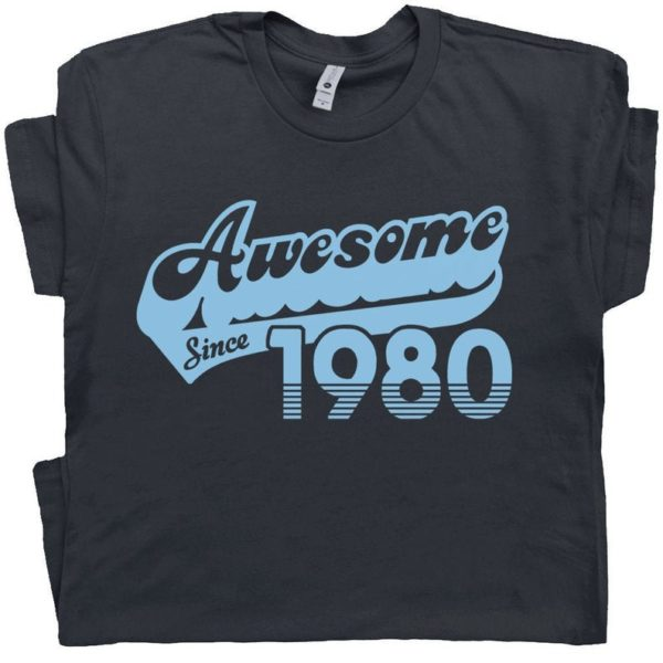 40th Birthday T Shirt Awesome Since 1980 T Shirt Gift For 1980 image 0