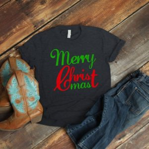 Merry CHRIST Mas Religious Christmas Shirt Jesus Is The image 0