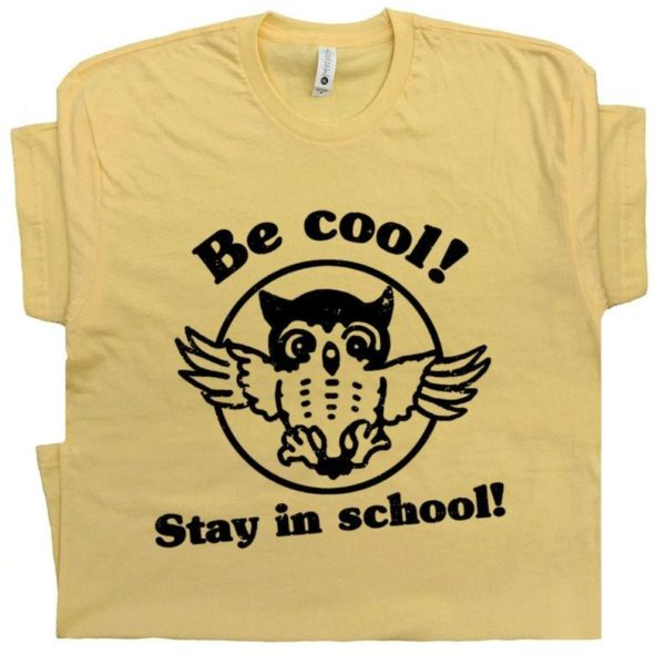 Geek T Shirts Be Cool Funny Owl Shirt With Vintage Graphic image 0