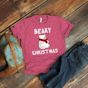 Beary Christmas Shirt Cute Holiday Pun Gifts Cute Polar Bear image 0