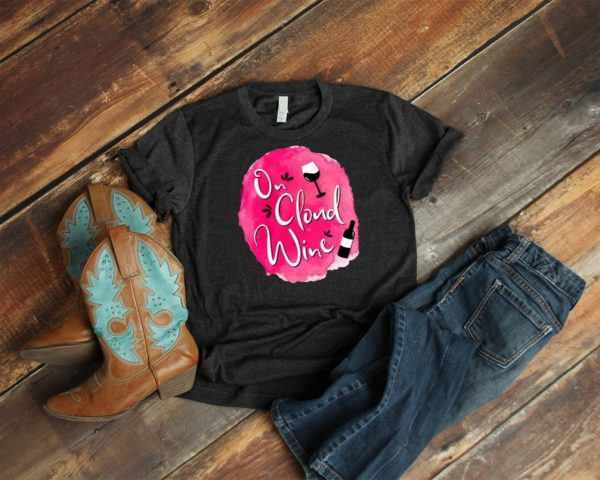 On Cloud Wine Shirt Vintage Wine Drinking Tee For Women image 0