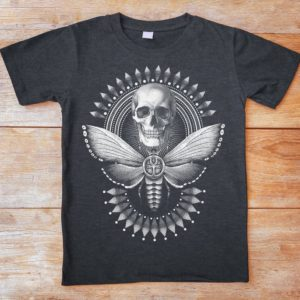 Deaths Head Moth Shirt Skull T-Shirt Skeleton Gifts Gothic image 0