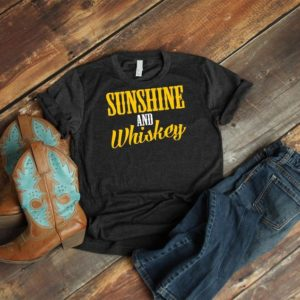 Sunshine And Whiskey Shirt Southern Girl Cute Rodeo Drinking image 0