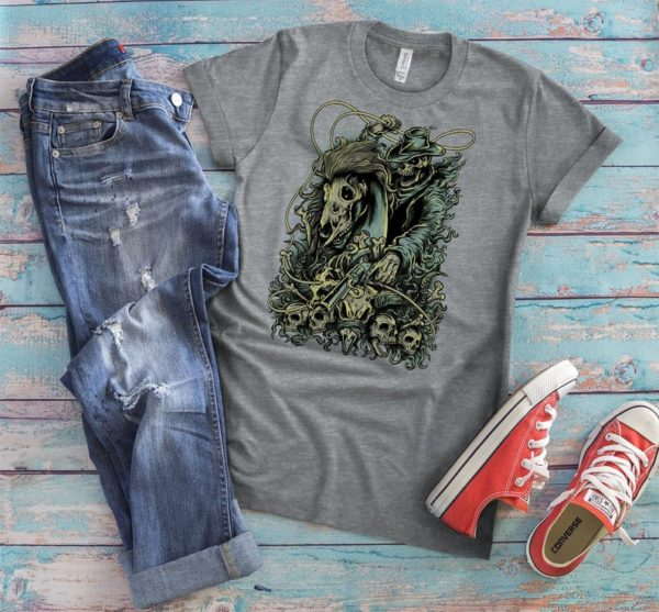 Ghost Skeleton Rider Shirt Zombie T-Shirt Undead Cowboy image 0