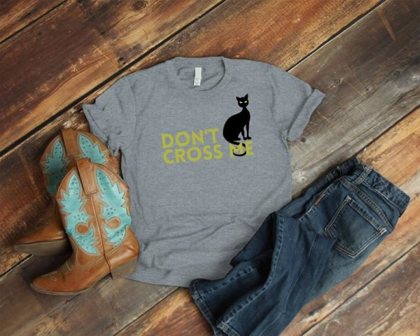 Black Cat Crossing Shirt, Vintage Tshirt, Cute Spooky Bad Luck Halloween Gift, Cat Lover Superstition, Crazy Cat Lady, Feline Kitty Tee