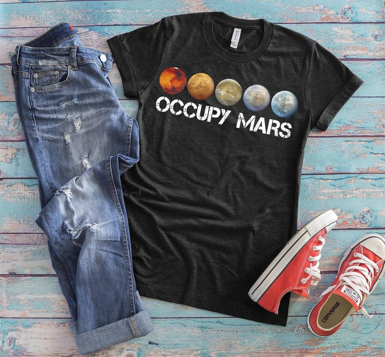 Occupy Mars Shirt NASA Outer Space Travel Tshirt Race In image 0