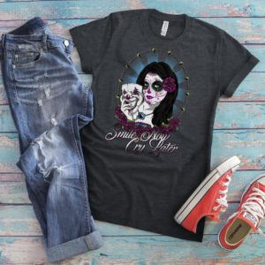 Day Of The Dead Shirt Sugar Skull T-Shirt Skeleton Gifts image 0