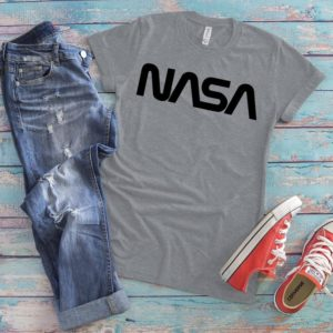 Black NASA Worm Logo Shirt Vintage Retro Tee 70s NASA Patch image 0