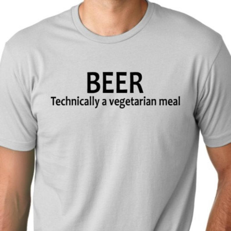 Beer Technically a Vegetarian meal  funny T-shirt drinking image 0