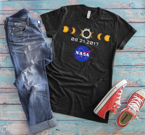 Total Solar Eclipse Shirt Outer Space Tshirt Moon Phase image 0
