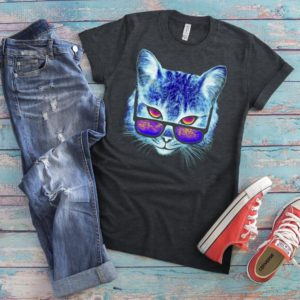 Cool Cat Shirt Psychedelic T-Shirt Trippy Colorful Gifts image 0