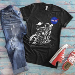 Astronaut Space Motorcycle Shirt Outer Space Adventure image 0
